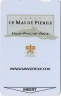 Carte Clé Hôtel : Le Mas De Pierre : Saint-Paul-de-Vence France : Relais & Châteaux - Cartes D'hotel