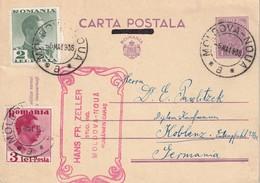 ROUMANIE 1936      ENTIER POSTAL  /GANZSACHE/POSTAL STATIONERY CARTE DE MOLDOVA-NOUA - Entiers Postaux