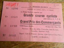 ROUX: BRADERIE DU SAMEDI 26 AVRIL 1969 COURSE CYCLISTE POUR JUNIOR A -LVB - Cyclisme