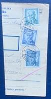 Czechoslovakia, 4, 5, 10 K. 1946, Sc # 297A, Used, On Piece, Pisek - Czechoslovakia