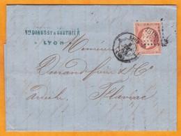 1859 - 40 C Napoléon III Jaune Orange Empire ND Sur Lettre Pliée De Lyon, Rhône  Vers Flaviac, Ardèche - 1849-1876: Klassieke Periode