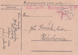 TCHECOSLOVAQUIE 1938 CARTE EN FRANCHISE MILITAIRE - Czechoslovakia