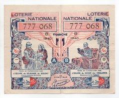 - BILLET DE LOTERIE NATIONALE 1940 - 8e TRANCHE - ETABLISSEMENTS Bébé Sport - - Billets De Loterie