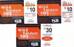 "LOTTO 59 DI N° 3 SCHEDE PREPAGATE & RICARICHE ""WIND TANDEM SMS"" TUTTE DIVERSE - GSM-Kaarten, Aanvulling & Voorafbetaald"