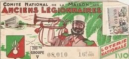Billet De Loterie De La Loterie Nationale, Comité National De La Maison Des Anciens Légionnaires, Timbre, Ticket - Loterijbiljetten