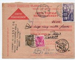- CARTE POSTALE REMBOURSEMENT MENET (Cantal) Pour VISAN (Vaucluse) 27.12.1954 - TAXÉE 20 F. + 5 F. Type Gerbes - - Postage Due