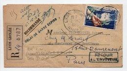 - Lettre Recommandée LYON GROLÉE Pour LYON Pour PARIS 2.12.1955 - DÉLAI DE GARDE EXPIRÉ - RETOUR A L'ENVOYEUR - - France