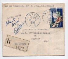 """- Lettre Recommandée TREVOUX (Ain) 15.2.1956 - Mention Manuscrite """"Absent Avisé"""" - - France"""