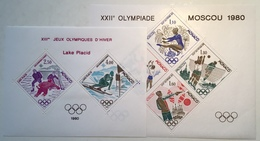 Monaco 1980 Bloc Speciaux Yv 11-12 = 770€ LUXE, JEUX OLYMPIQUES Moscou + Lake Placid (Olympic Games Sport Athletics MNH - Blocks & Sheetlets