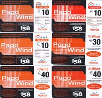 "LOTTO 61 DI N° 6 SCHEDE PREPAGATE & RICARICHE ""WIND PAGO WIND"" TUTTE DIVERSE - GSM-Kaarten, Aanvulling & Voorafbetaald"