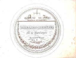 Porceleinkaart  -  D. De Smet- Heltzel - Horloger -   Bruges - Brugge - 6x8 Cm - Brugge