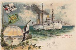 Deutschlands Flotte Auf Der Fahrt Nach China - Litho - Int. Frankatur - 1903        (A-182-191003) - Guerra