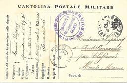 91-cachet Hôpital- Centre Chirurgical à Etampes Sur CP Militaire Italienne En 1918 - Marcophilie (Lettres)