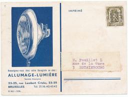 DDW563 - Thème LAMPES ECLAIRAGE - Superbe Carte Illustrée 1938 Optiques BOSCH - S.A. Allumage-Lumière Bruxelles - Timbres