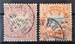 BAYERN / BAVARIA 1876 - Canceled - Mi 43, 44 - 1M 2M - Bavière