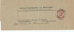 """DDW564 - Thème COLOMBOPHILIE - Superbe Bande De Journal Colombophile """" Le Martinet """" BRUXELLES 19 VII 1914 - WW I"""
