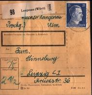 ! 1943 Paketkarte Deutsches Reich, Langenau In Württemberg Nach Leipzig, Zusammendrucke Hindenburg - Covers & Documents