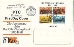 Zimbabwe FDC 17-10-1980 Souvenir Sheet 75th Anniversary Of The Post Office Savings Bank - Zimbabwe (1980-...)
