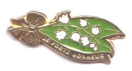 M129 Pin's Fleur Muguet 1 Mai Je Porte Bonheur  Lily Of The Valley Achat Immédiat - Pins