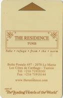 Carte Clé Hôtel : The Residence Tunis : La Marsa - Les Côtes De Carthage : Tunisie - Cartes D'hotel