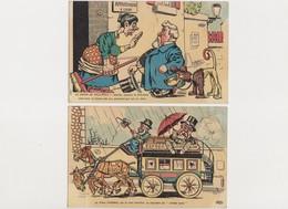"""2 Cpa Illustrateur NADAL / Le Chien De Fallières / Le Vieux Président Va Rejoindre Les """"vieilles Lunes"""" - Satirische"""