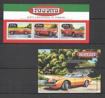 E1007 MALDIVES TRANSPORT CARS BIRTH CENTENNIAL OF FERRARI 1BL+1KB MNH - Cars