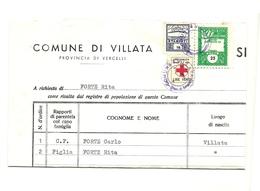 1965 - Italia - Certificato Del Comune Di Villata                16/44 - Vecchi Documenti