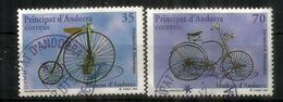 Premiers Bicycles. Draisienne & Vélocipède, 2 Timbres Oblitérés,  1 ère Qualité - Andorre Espagnol