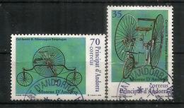 Premiers Bicycles Des Années 1878 & 1883, 2 Timbres Oblitérés, 1 ère Qualité - Andorre Espagnol
