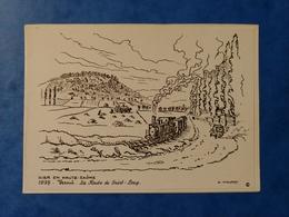 Vesoul La Route De Saint Loup 1935 Train Carte Dessin Haute Saône Franche Comté - Altri Comuni