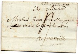 Vaucluse - LAC De Carpentras Marque AVIGNON;Cat (Lenain 3) 1781 - Marcophilie (Lettres)