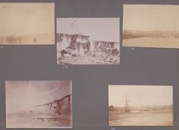 Photographie Ancienne Dieppe Seine-Maritime - Lot De 5 Photographies 1903 - Voilier Falaises Calèche Port Carrière - Luoghi