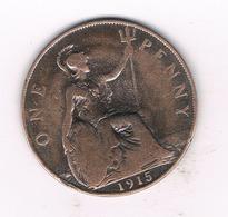 ONE PENNY  1915  GROOT BRITANNIE /1322// - 1902-1971 : Monnaies Post-Victoriennes