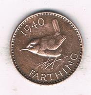 1 FARTHING 1940   GROOT BRITANNIE /1323// - 1902-1971 : Monnaies Post-Victoriennes