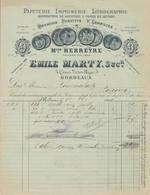 33 BORDEAUX FACTURE 1899 PAPETERIE IMPRIMERIE LITHOGRAPHIE  Maison HERREYRE Emile MARTT Succ.   * B9 - Imprimerie & Papeterie