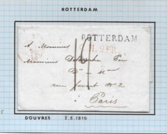 GUERRE NAPOLEONIENNE Lettre  De DOUVRES MAI 1810 Marque  ROTTERDAM Et C.H.2e R Pour La FRANCE - 1801-1848: Précurseurs XIX