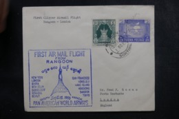 BIRMANIE - Enveloppe 1er Vol Rangoon / Londres En 1953, Affranchissement Et Cachet Plaisants - L 44870 - Myanmar (Birmanie 1948-...)
