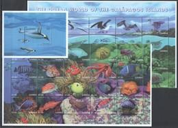 WW592 GAMBIA FAUNA FISH & MARINE LIFE OF GALAPAGOS #3295-35 MICHEL 22,5 EURO BIG SET+BL MNH - Vita Acquatica