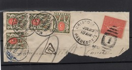 !!! 50C SEMEUSE LIGNEE SUR FRAGMENT, OBLIT CRISTOBAL PAQUEBOT 1934 + TAXES SUISSES - Marcofilia (Sellos Separados)