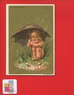 AU BON MARCHE Charmante Chromo Or Testu Massin Bebe Champignon Grenouille Parapluie - Au Bon Marché