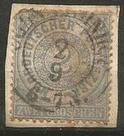 North Germany - 1868 Numeral 2gr Used On Paper - North German Conf.