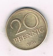 20 PFENNIG  1984 A DDR    DUITSLAND /1329/ - [ 6] 1949-1990 : RDA - Rép. Démo. Allemande