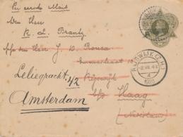 Nederlands Indië - 1923 - 20 Cent Wilhelmina In Driehoek, Envelop G28 Van LB Djombang Naar Rijswijk En Amsterdam - Niederländisch-Indien