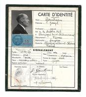 Carte D'Identité - Homme Né 1863 - 10 Avril 1943, Vienne, Champagne Saint-Hilaire. Timbre Fiscal 15 Francs. - Vieux Papiers