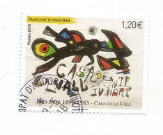 """Tableau Joan Miro """"Casa De La Vall"""", Un Timbre Oblitéré.1 ère Qualité, Année 2018 - Andorre Espagnol"""