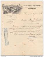 69 GRIGNY Près GIVORS FACTURE 1908 FAIENCERIES De Grigny - T60 - France