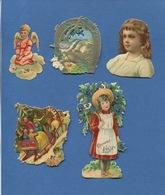 Bel Ensemble Chromos Decoupis Dont Fillette Chocolat Louit Ange Fer à Cheval Traineau Pere Noel 5 à 9 Cm - Enfants