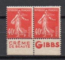 - FRANCE 2 X 194b Neufs ** MNH - 40 C. Vermillon Semeuse Camée AVEC BANDE PUB - Cote 22 EUR - - 1906-38 Sower - Cameo
