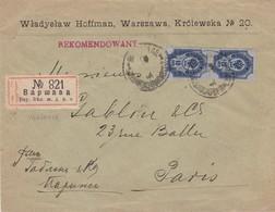 Env Recommandée En Tête Hoffman Warsawa ( Varsovie ) T.P. Ob 1903 - ....-1919 Governo Provvisiorio