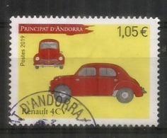 ANDORRA. Renault 4CV, Année 1947. Un Timbre Oblitéré 2019, 1 ère Qualité - Andorre Espagnol